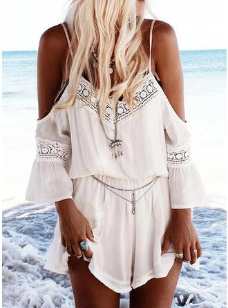Lace Solid Spaghetti Straps Cold Shoulder Sleeve Casual Vacation Romper