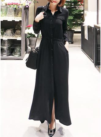 Solid Shirt collar Maxi A-line Dress