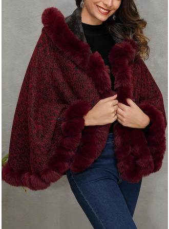 Polyester Long Sleeves Print Wide-Waisted Coats Faux Fur Coats Capes