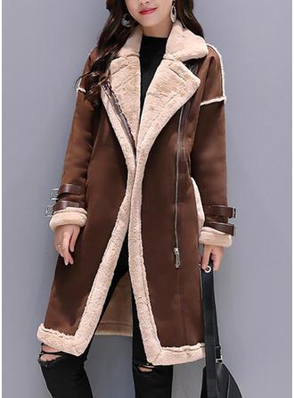 Polyester Manches longues Couleur unie Manteaux en Peau de Mouton