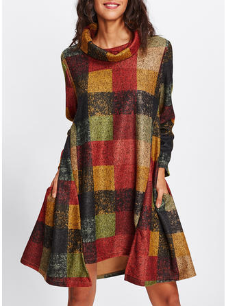 Plaid High Neck Knee Length Shift Dress