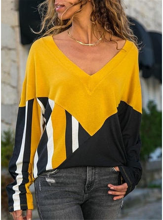Color Block Striped V-neck Long Sleeves Casual Knit T-shirts