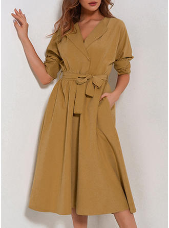 Solid V-neck Midi Shift Dress
