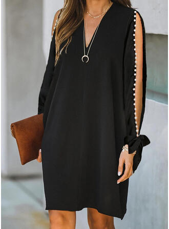 Solid Long Sleeves/Cold Shoulder Sleeve Shift Knee Length Little Black/Casual/Elegant Dresses