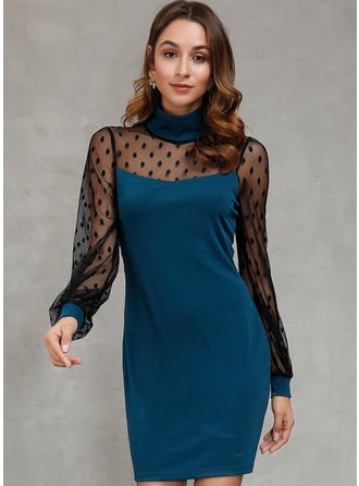 Patchwork Long Sleeves Sheath Above Knee Casual Dresses