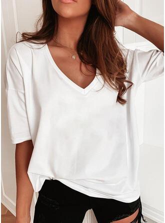 Couleur Unie Col V Manches 1/2 T-shirts