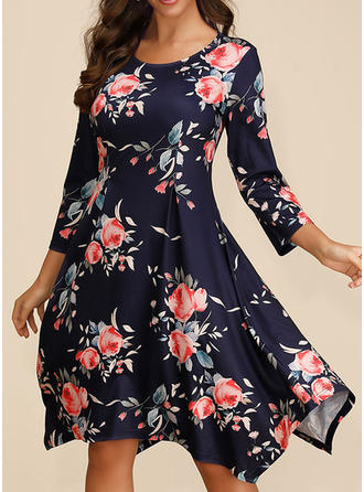 Print/Floral 3/4 Sleeves A-line Knee Length Casual/Elegant/Boho/Vacation Dresses