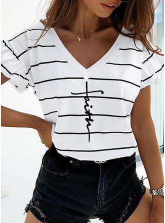 Print Striped V-Neck Short Sleeves Casual T-shirts