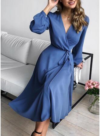 Solid Long Sleeves A-line Casual/Elegant Midi Dresses