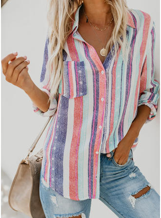 Linen Stand-up Collar Lapel Striped 3/4 Sleeves Shirt Blouses