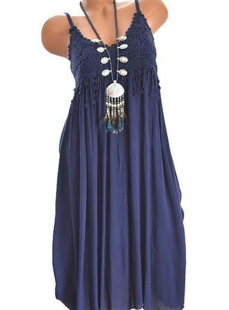 Lace/Solid Sleeveless A-line Above Knee Casual Dresses