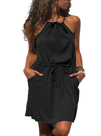 Solid Sleeveless A-line Above Knee Little Black/Casual Dresses