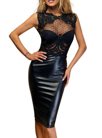 Lace Solid Round Neck Knee Length Bodycon Dress