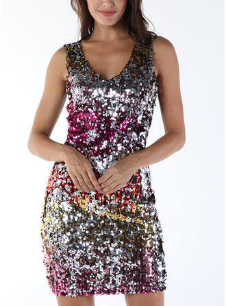 Sequins/Color Block Long Sleeves Bodycon Mini Party Dresses