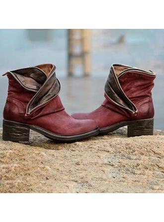 Donna PU Tacco spesso Stivali con Cerniera Con risvolto scarpe