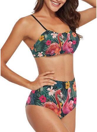 Květinový vzor Listy Na ramínka Sexy Bikiny Costume de baie