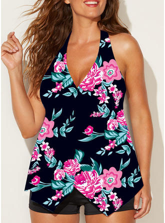 Floral Halter Elegant Tankinis Swimsuits