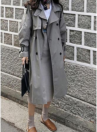 Long Sleeves Plain Trench Coats