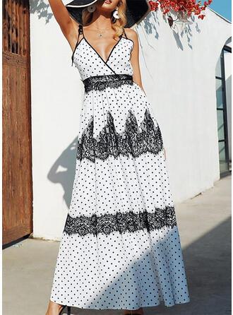 Lace/PolkaDot Sleeveless A-line Sexy/Casual/Vacation Midi Dresses