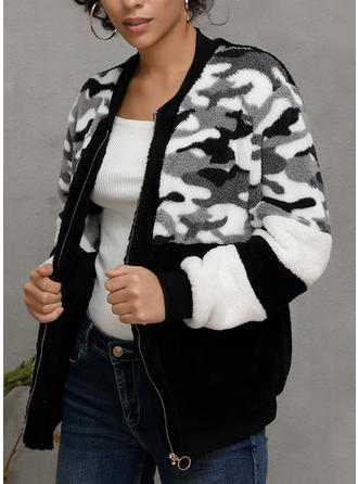 Polyester Long Sleeves Print Color Block Faux Fur Coats
