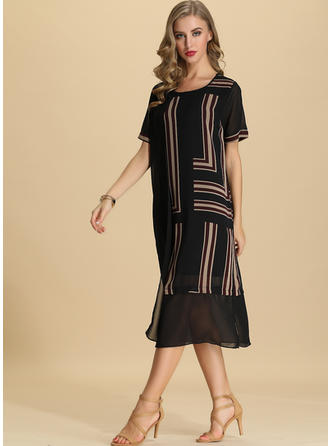 Striped Short Sleeves Shift Midi Casual Dresses