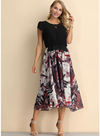 Print/Floral Short Sleeves A-line Knee Length Vintage/Casual Dresses