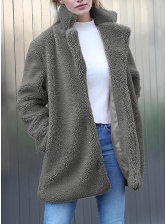 Fausse Fourrure Manches longues Couleur unie Manteaux en Tissu Mixte