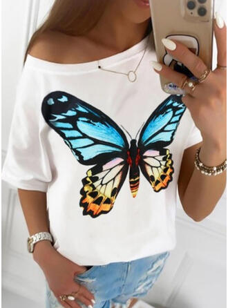 Print One-Shoulder 1/2 Sleeves Casual T-shirts