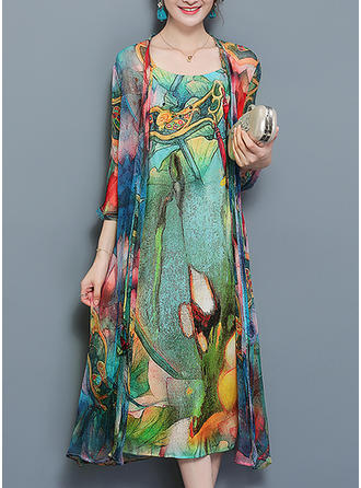 Print 1/2 Sleeves Shift Midi Casual/Elegant Dresses