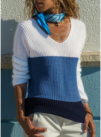 Color Block V neck Sweaters