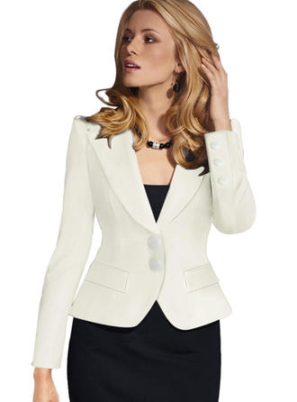 Polyester Long Sleeves Plain Blazer