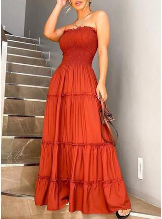 Jednolita Bez rękawów W kształcie litery A Mała czarna/Casual Maxi Sukienki