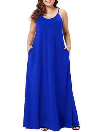 Solid Sleeveless Shift Casual/Vacation/Plus Size Maxi Dresses