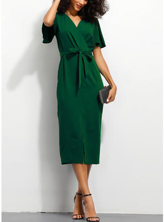 Solid Short Sleeves Sheath Midi Casual/Elegant Dresses