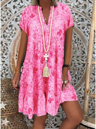 Print 3/4 Sleeves Shift Knee Length Casual/Elegant Dresses