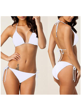 Solid Color Triangle Halter Sexy Bikinis Swimsuits