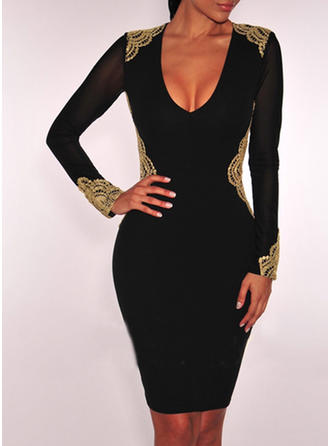 Lace/Solid Long Sleeves Bodycon Knee Length Little Black/Casual/Party Dresses