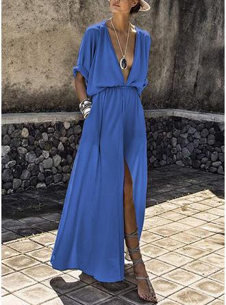 Bohemian Solid V-neck Maxi A-line Dress