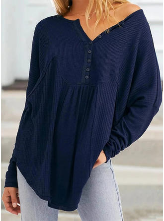 Solid One-Shoulder Long Sleeves Button Up Casual Knit Blouses