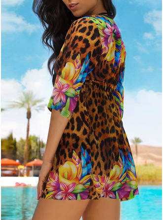 Leopard V-neck Sexy Fashionable Beautiful Cover-ups Swimsuits