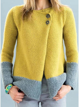 Color Block Round Neck Casual Cardigan