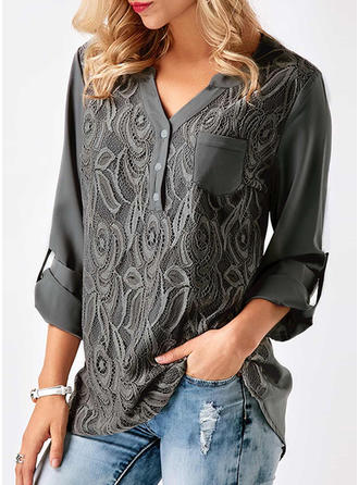 Chiffon Lace V Neck Plain Long Sleeves Shirt Blouses