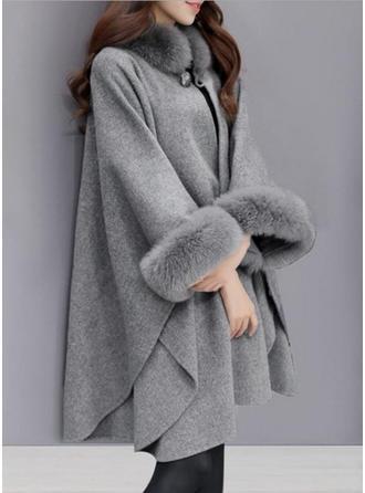 Woolen 3/4 Sleeves Plain Wide-Waisted Coats