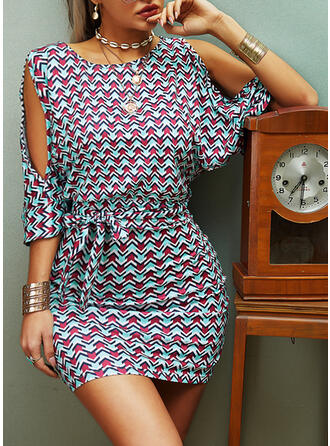 Print 1/2 Sleeves Bodycon Above Knee Casual/Elegant Dresses