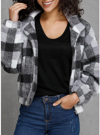 Cotton Blends Plaid Wide-Waisted Coats