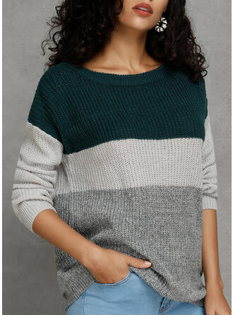 Color Block One Shoulder Casual Sweater Dress