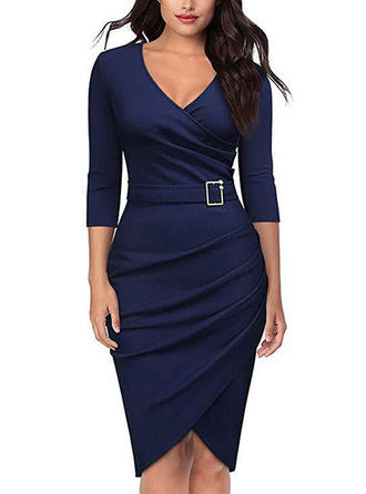 Solid 3/4 Sleeves Bodycon Asymmetrical Casual/Elegant Dresses