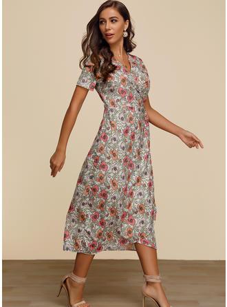 Print/Floral Short Sleeves A-line Midi Casual/Elegant Dresses