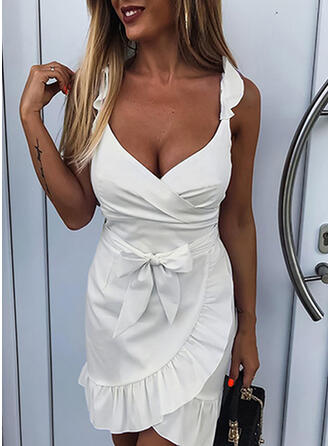 Solid Sleeveless Sheath Above Knee Sexy Dresses