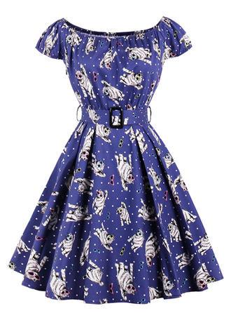 Print U Neck Knee Length A-line Dress